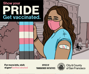 Illustration showing a trans person encouraging people to get vaccinated