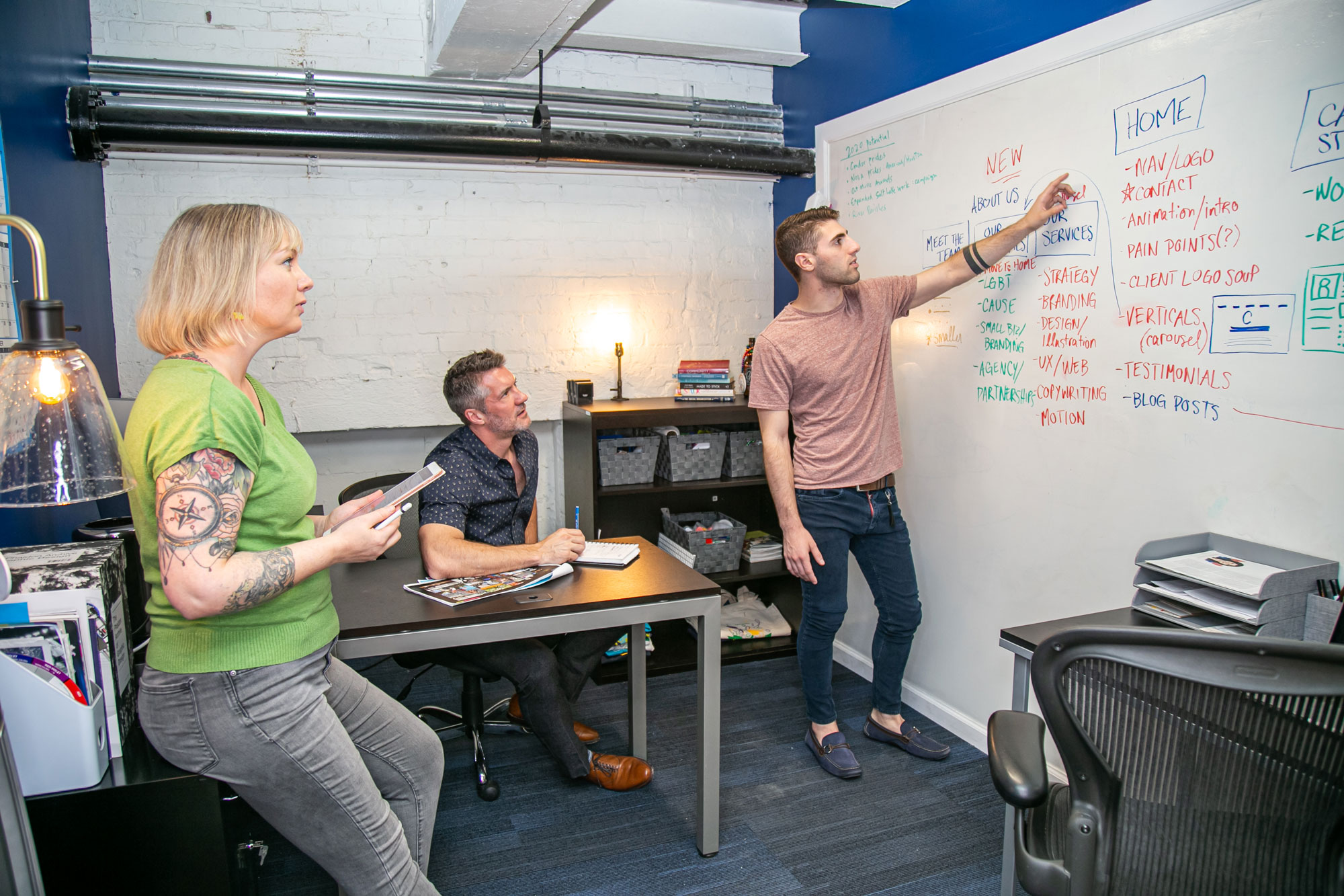 Three People Brainstorming With a Whiteboard