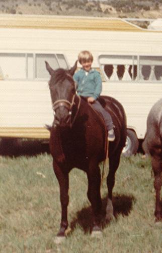 Dustin riding his horse Taffy