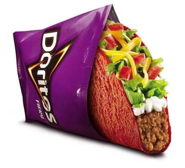 Taco Bell taco in a Doritos bag