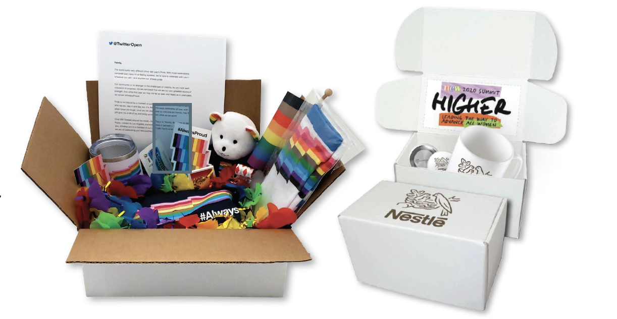 (Boxes of swag courtesy of Brand|Pride)