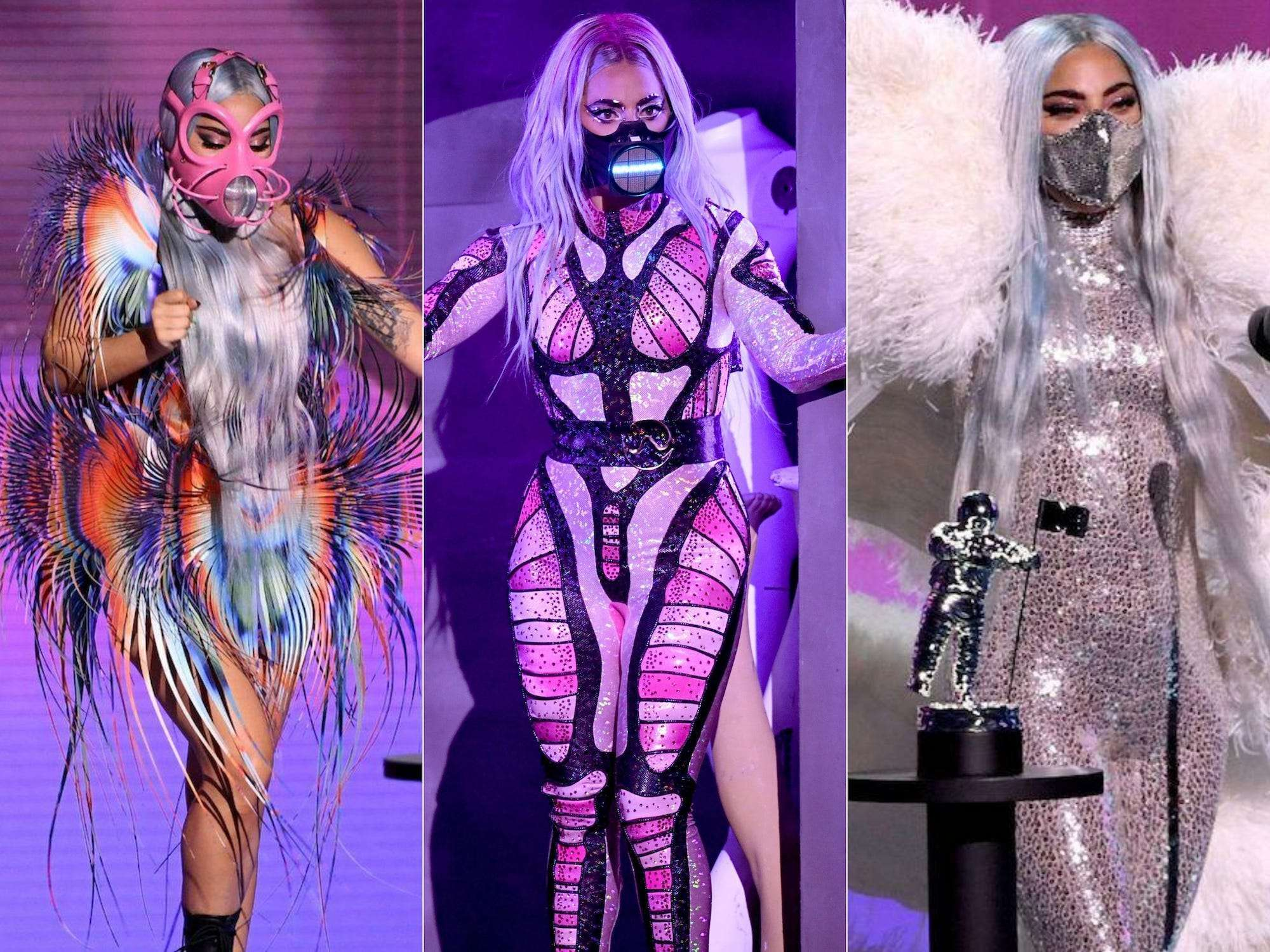 3 images of Lady Gaga at her VMA performance