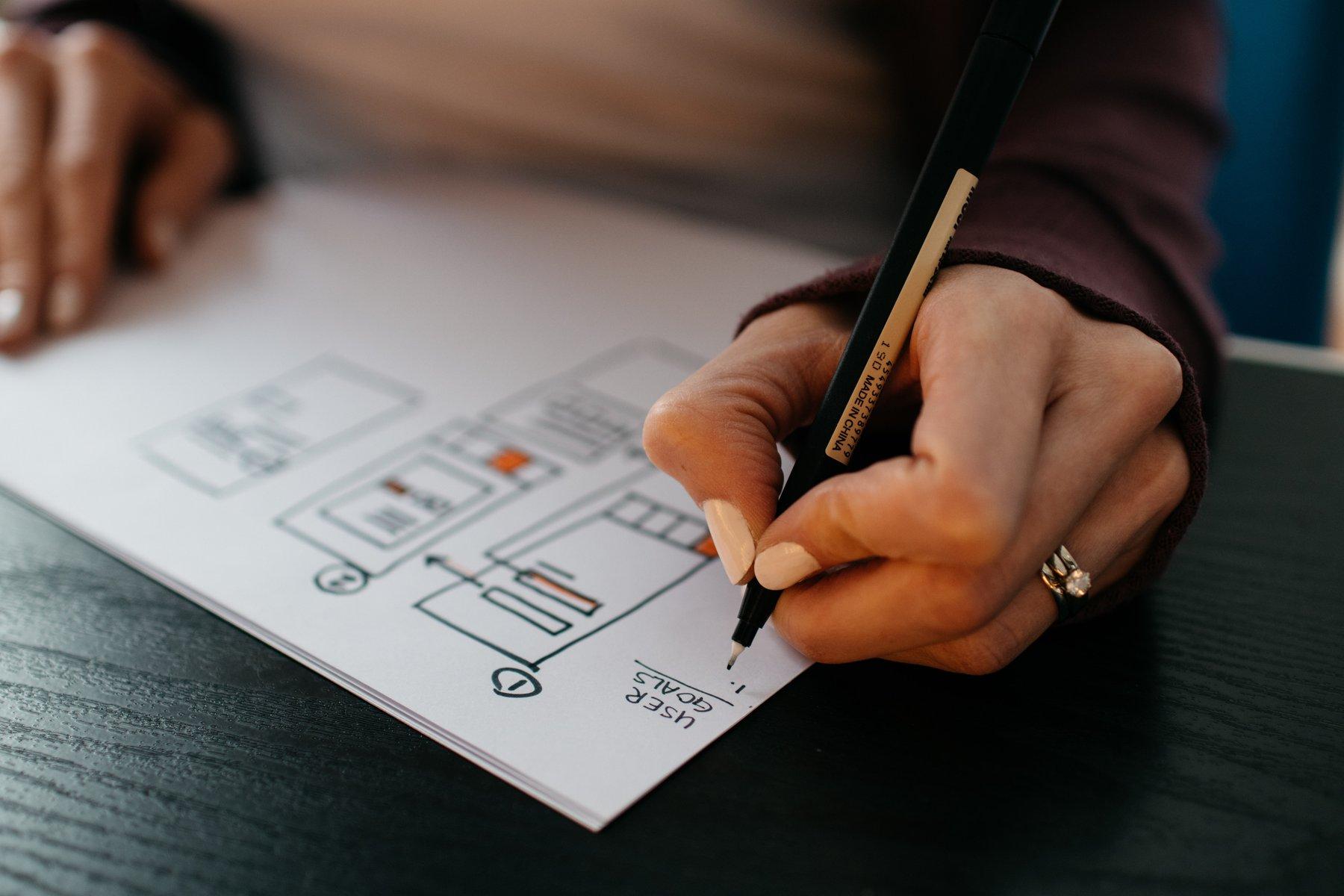 Woman writing a plan down on paper