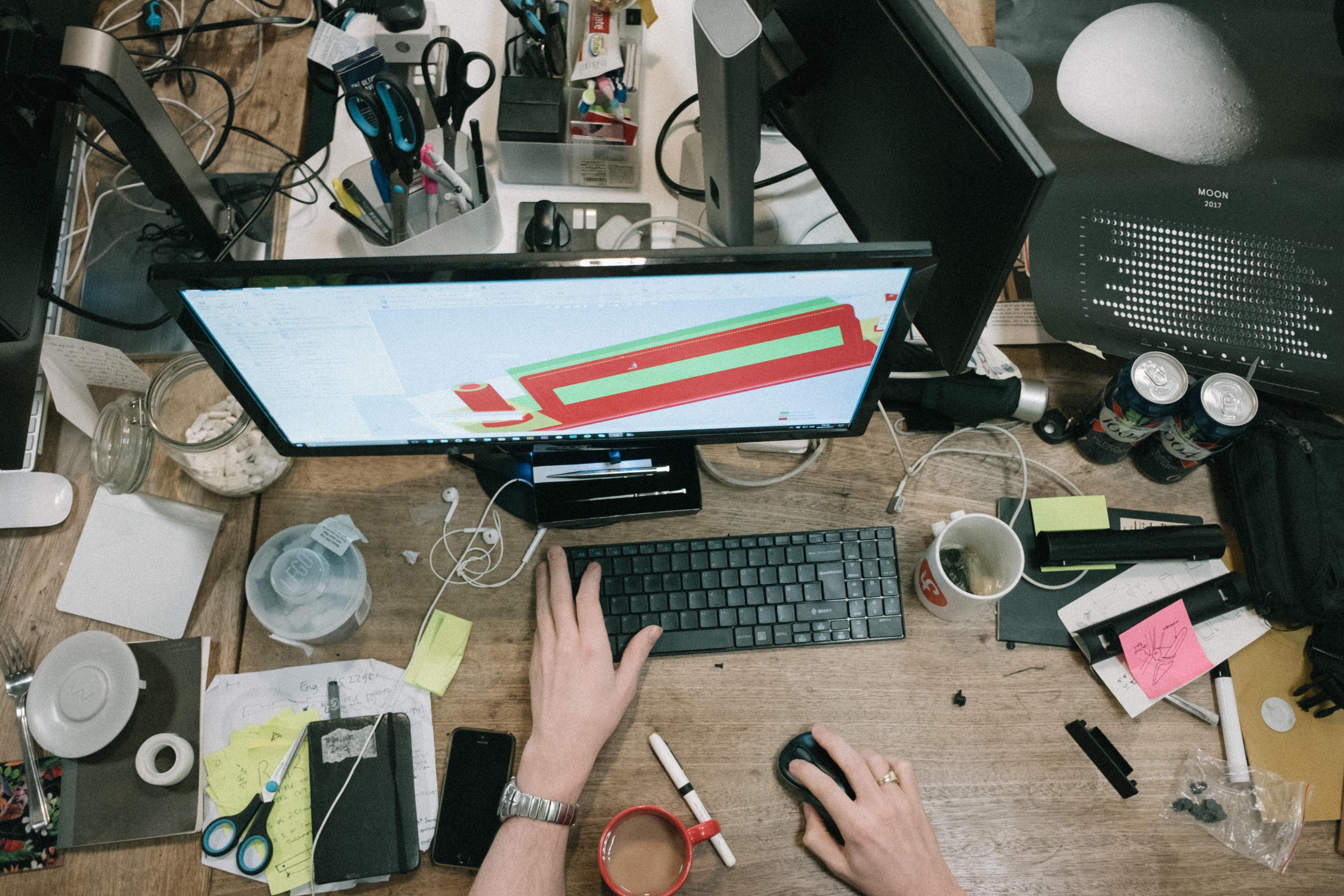 A cluttered work desk