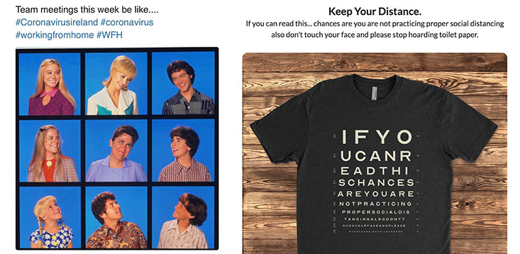 Brady Bunch zoom meeting and Keep your distance shirt