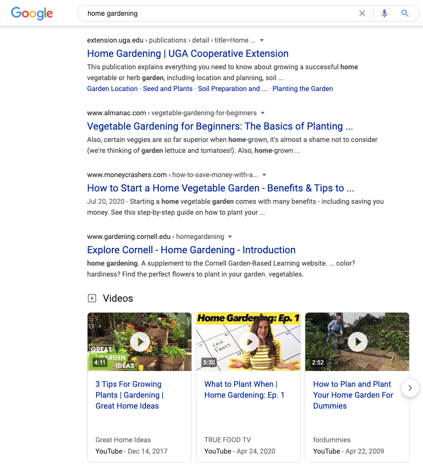 """Screenshot of a Google Search for 'Home Gardening"""" to show SEO best practices"""