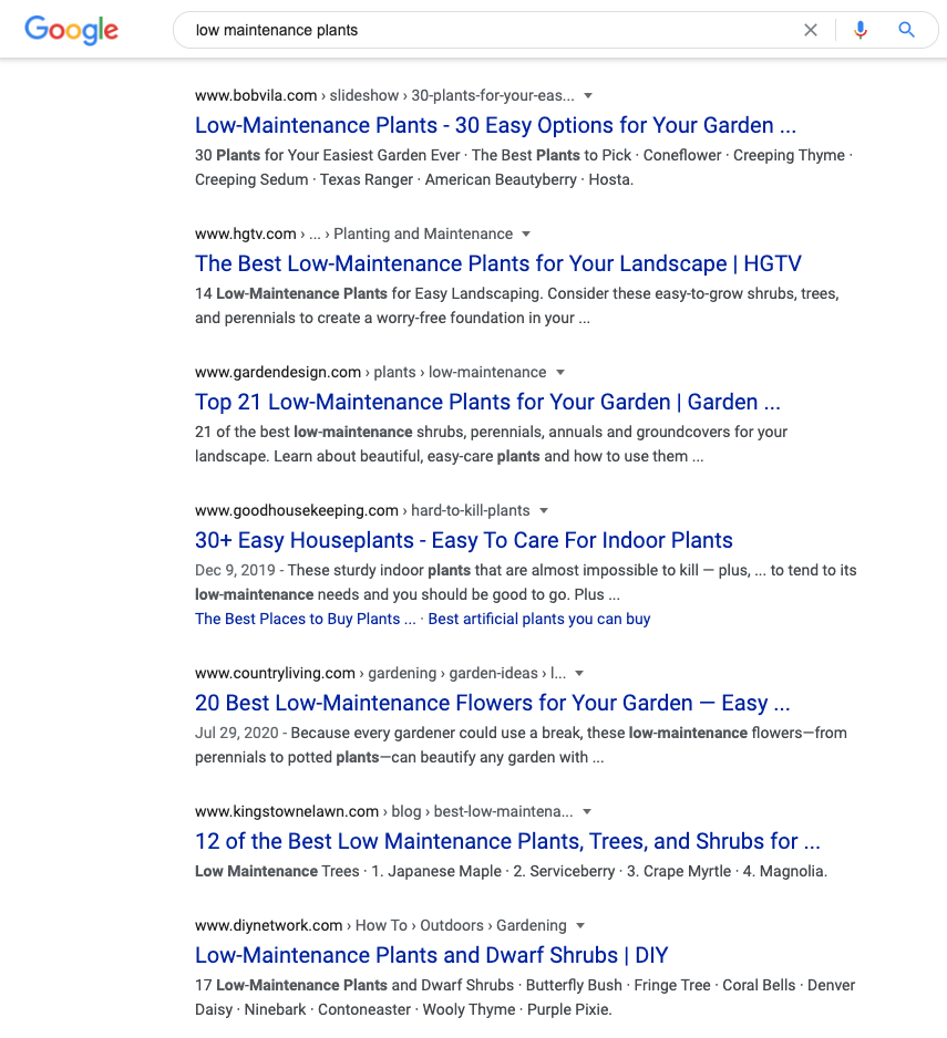 Screenshot of a Google Search for 'low maintenance plants' to show SEO