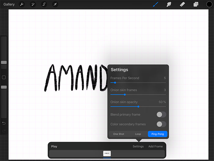 Sketchy Titles - Procreate Animation Settings