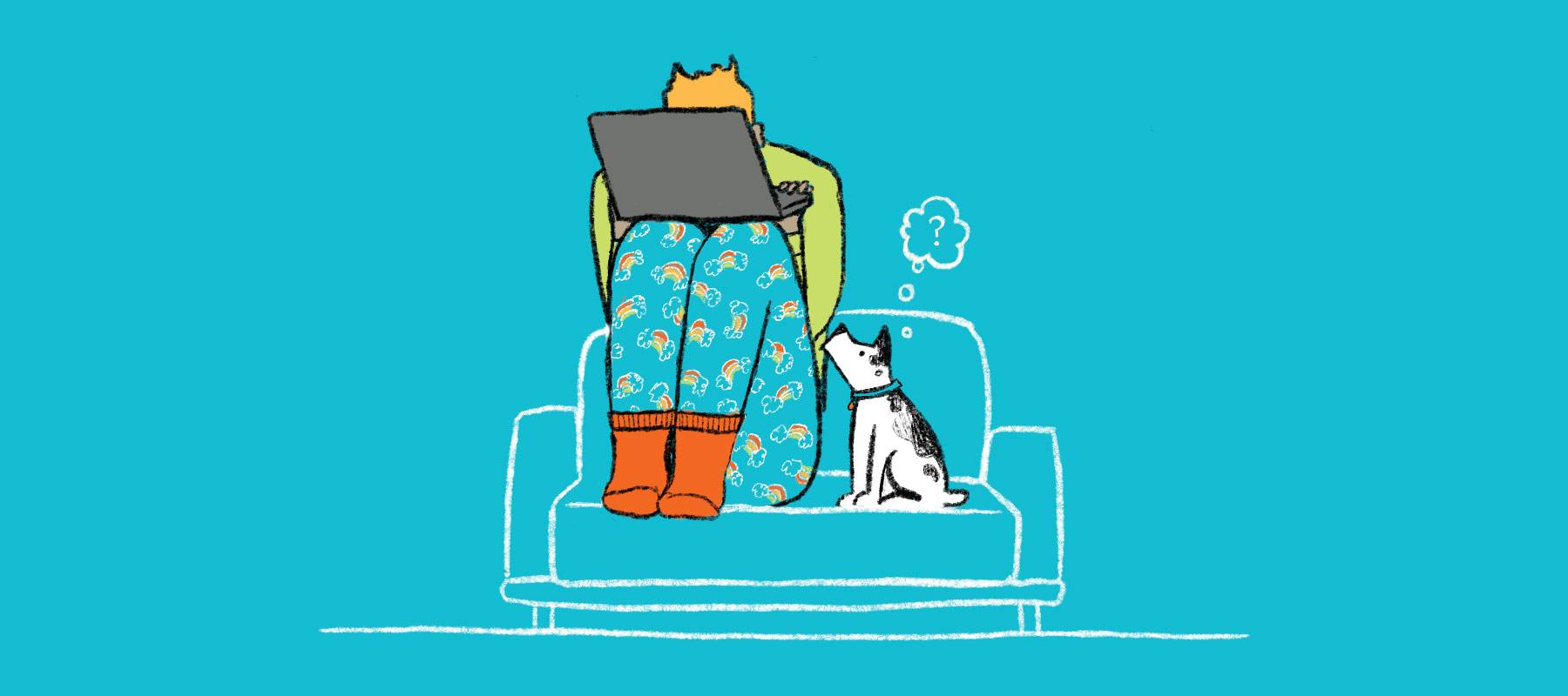 Work from home person hiding behind computer with puppy asking why