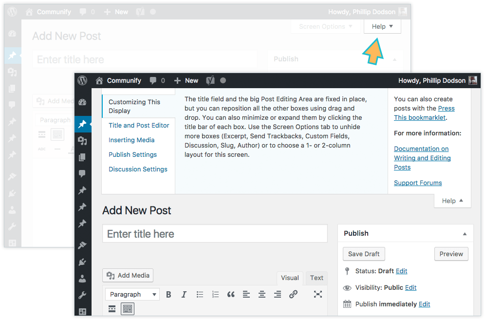 Backend editor in WordPress